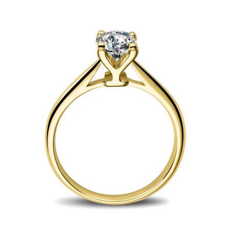 Anello Solitario Lettera Alfabeto Y - Oro Giallo e Diamante | Gemperles