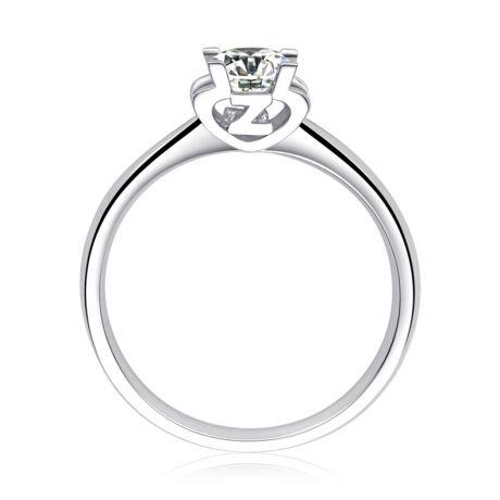 Anello Solitario Lettera Alfabeto Z - Oro Bianco e Diamante | Gemperles