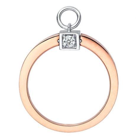 Solitaire pendentif - Bague de mariage en or blanc, rose et diamants | Gemperles
