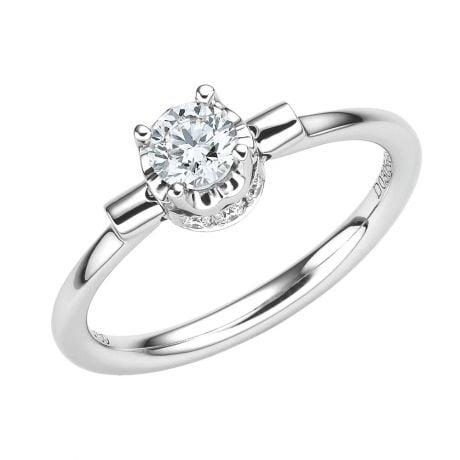 Bague solitaire pendentif or blanc - Diamants sertis griffes, grains | Estasia