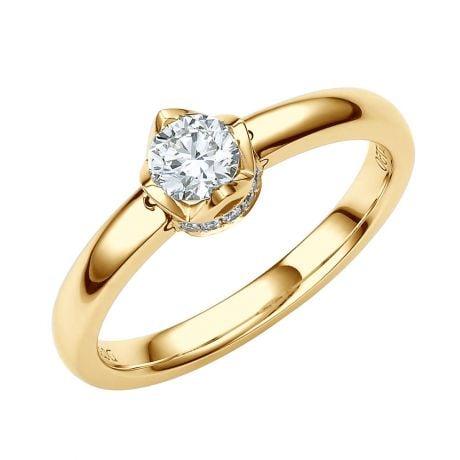 Solitaire Contemporain Or Jaune & Diamants 0.35ct - Bague Pendentif | Gemperles