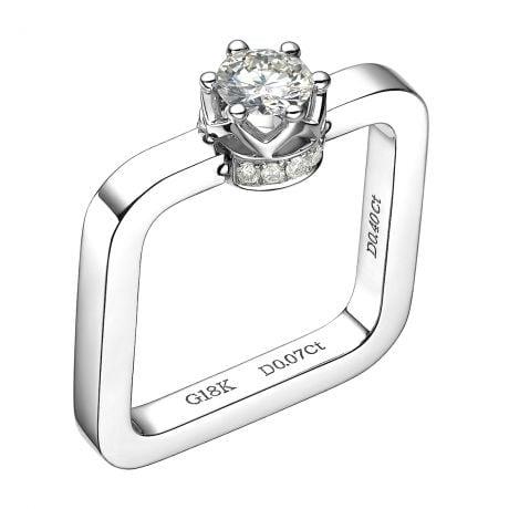 Bague pendentif solitaire carré - Or blanc, diamants | Léna