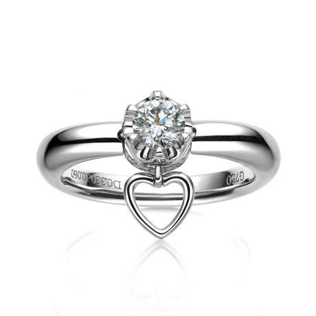 Anello Cuore di Solitario in Oro Bianco & Diamanti | Gemperles