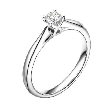 Anello di Fidanzamento Donna Richelieu - Oro Bianco & Diamante Solitario | Gemperles