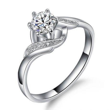 Bague Solitaire Enlacée - Bague Elliptique Platine & Diamants | Gemperles