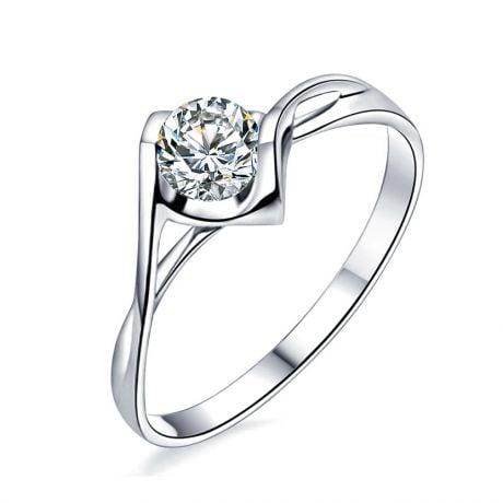 Anello di Fidanzamento A Jeanne - Oro Bianco e Diamante Solitario | Gemperles