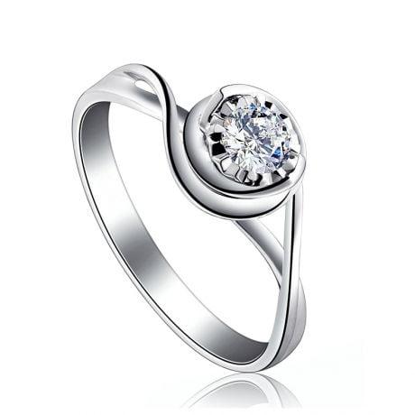 Anello di Fidanzamento Stregato - Oro Bianco & Diamante 0.20ct | Gemperles