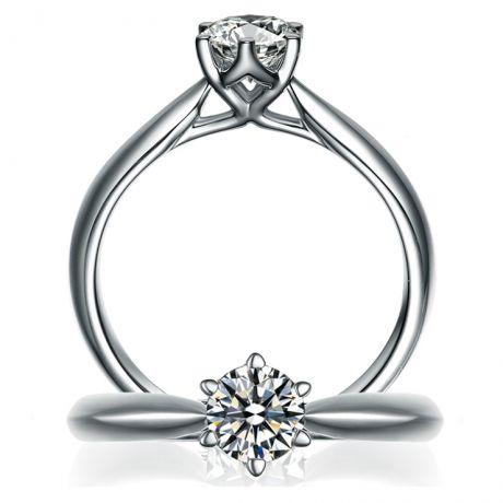 Anello di Fidanzamento L'Amour - Oro Bianco e Diamante Solitario | Gemperles