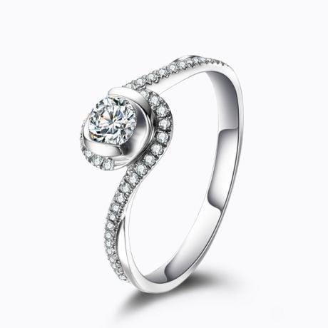 Anello Solitario Composto Ti Appartengo - Platino & Diamanti | Gemperles