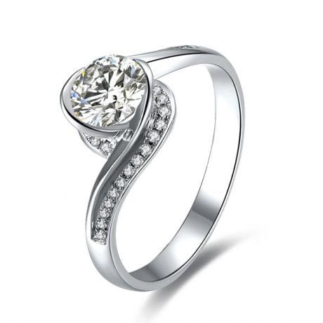 Bague Solitaire Platine, Diamants 0.42ct - Baudelaire, A une Madone | Gemperles