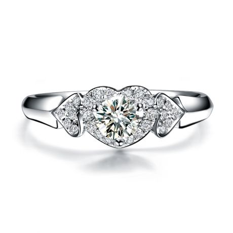 Bague Solitaire Coeurs Splendides - Or Blanc, Diamants | Gemperles