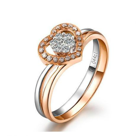Anello doppio - Oro rosa e bianco 18ct - Diamanti incastonati - Cuore rosa