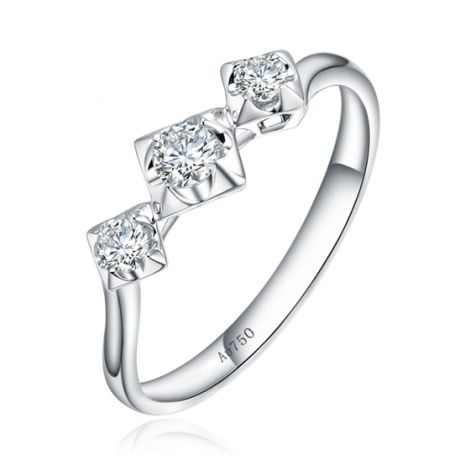 Bague de fiançailles trilogie en or blanc - 3 diamants 0.20ct