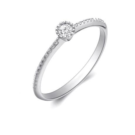 Anello di Fidanzamento Cristaline - Oro Bianco & Diamante Solitario | Gemperles