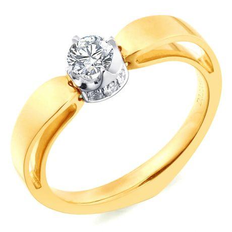Anello di Fidanzamento Jefferson - Oro Giallo & Bianco, Diamante Solitario   Gemperles
