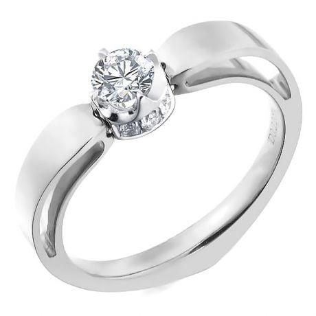 Solitaire anneau bombé - Or blanc- Couronne diamants 0.58ct | Jefferson