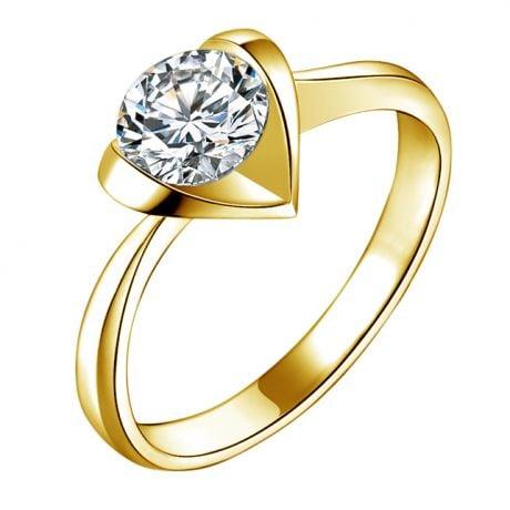 Bague Solitaire Coeur Majestueux - Or Jaune & Diamant | Gemperles