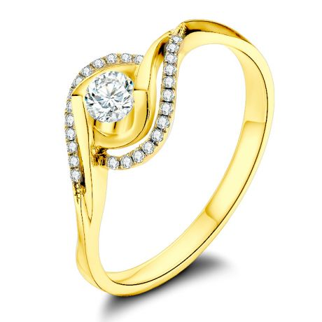 Anello Solitario Composto Clarisse - Oro Giallo & Diamanti | Gemperles