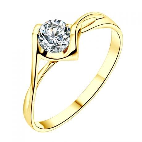 Anello di Fidanzamento A Jeanne - Oro Giallo e Diamante Solitario | Gemperles
