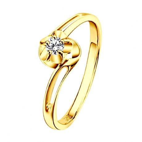 Anello Fidanzamento Fiore d'Amore - Oro Giallo & Diamante Solitario | Gemperles