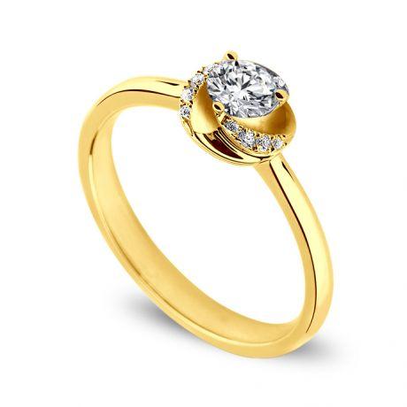 Solitaire Le Tourbillonnant Or Jaune - Diamants Sertis Griffes, Grains | Gemperles