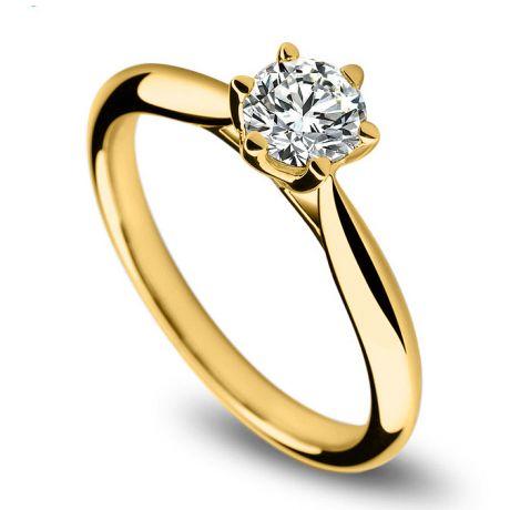 Anello di Fidanzamento L'Amour - Oro Giallo e Diamante Solitario | Gemperles