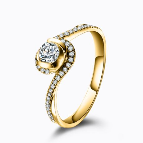 Anello Solitario Composto Ti Appartengo - Oro Giallo & Diamanti | Gemperles