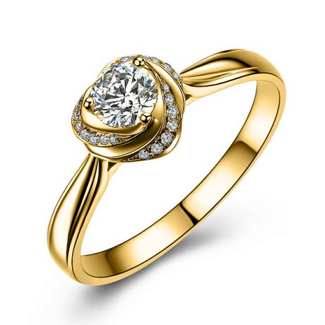 Anello Solitario di Fidanzamento Cuore di Rosa - Oro Giallo Lucido & Diamanti VS/G | Gemperles