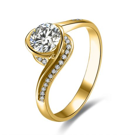 Diamants 0.57ct sur Solitaire Bague Or Jaune - A Une Madone | Gemperles