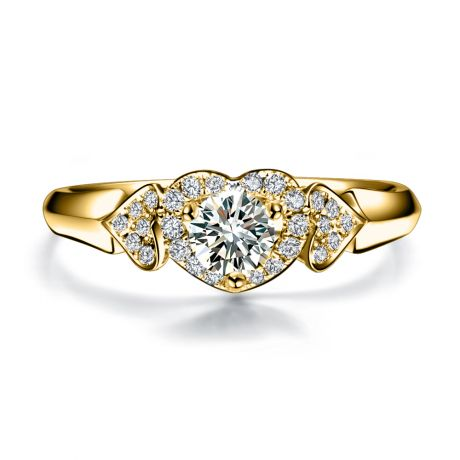 Bague Solitaire Coeurs Splendides - Or Jaune & Diamants | Gemperles