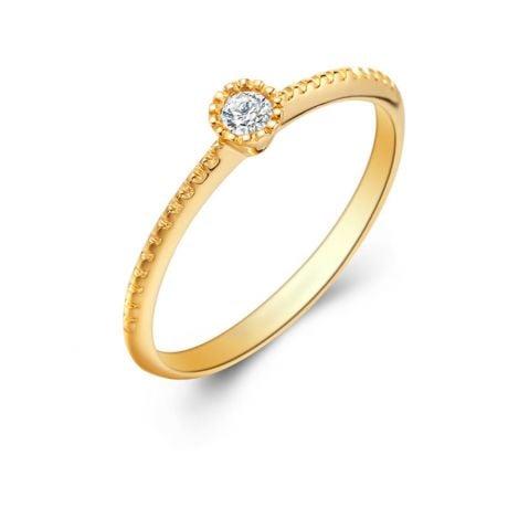 Anello di Fidanzamento Cristaline - Oro Giallo & Diamante Solitario | Gemperles