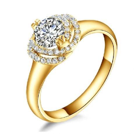 Bague Solitaire Gracieuse Majesté - Or Jaune & Diamants Enroulés | Gemperles