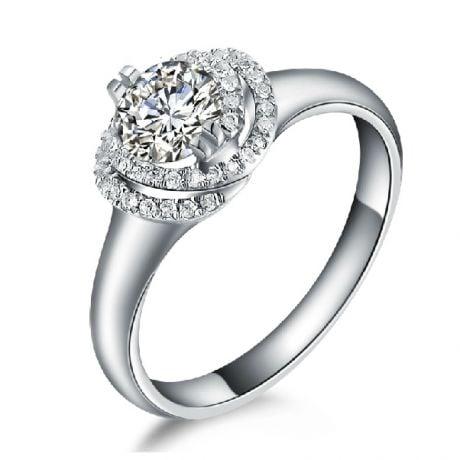 Anello di Fidanzamento Grazioso - Platino & Spirale Diamanti | Grazioso