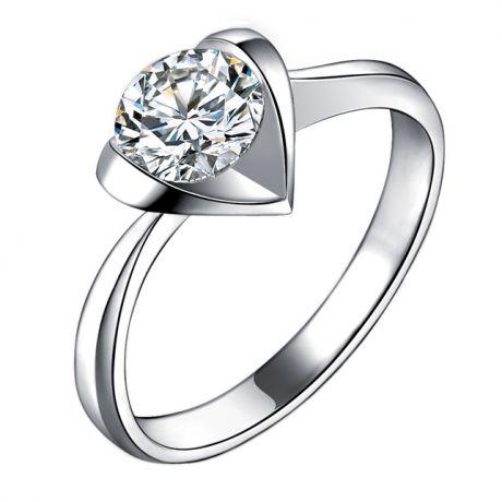 Anello di Fidanzamento Cuore Maestoso - Diamante Solitario & Platino | Gemperles