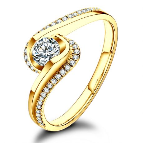 Solitaire A Une Passante -  Diamants & Or Jaune - Baudelaire  | Gemperles