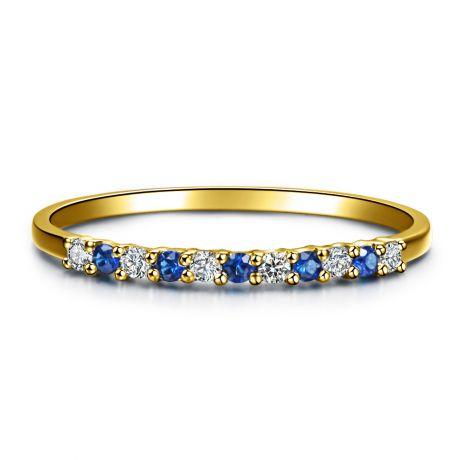 Anneau Diamants et Saphirs en alternance - Or jaune 18 carats