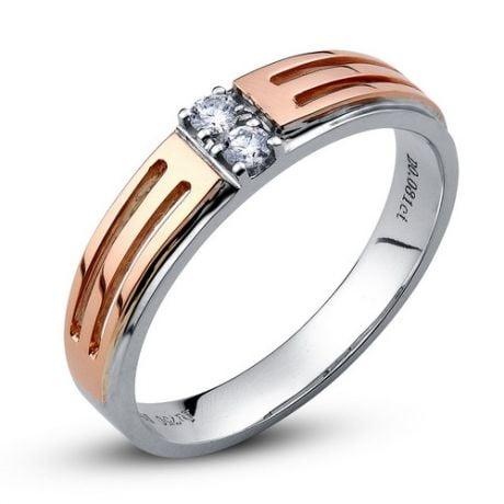 Fede Nuziale Gladis per Donna - Oro Bianco e Rosa, Diamanti