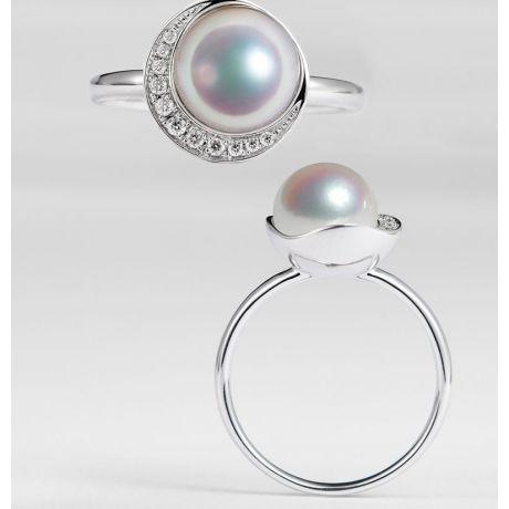 Anello Hinata - Oro Bianco, Diamanti & Perla Akoya