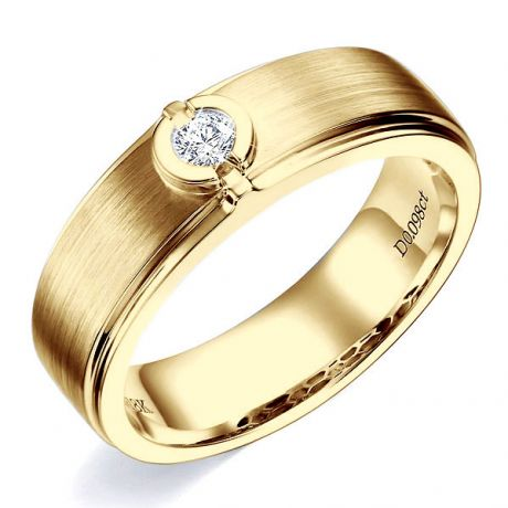 Bague Homme or jaune. Diamant solitaire. Or 750/1000 brossé et poli | Lorenzo