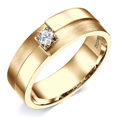 Bague Homme. Or jaune polie / brossé. Diamant 0.105ct | Edgar