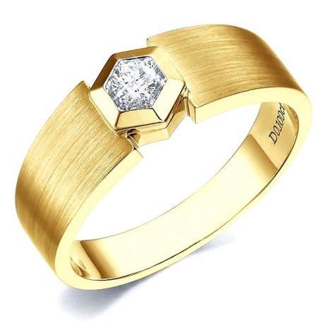 Anello per Uomo Oro giallo & Diamante solitario. Motivo esagonale | Capitaine