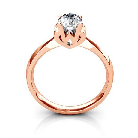 Anello Solitario Lettera Alfabeto W - Oro Rosa e Diamante | Gemperles
