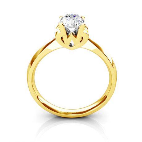 Anello Solitario Lettera Alfabeto W - Oro Giallo e Diamante | Gemperles