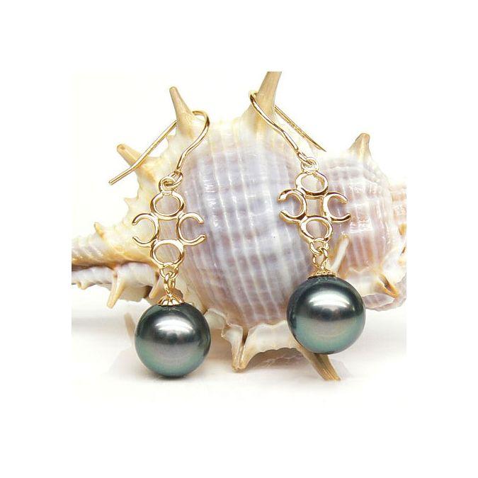 Boucles oreilles or - Crochets - Or jaune - Perle de Tahiti