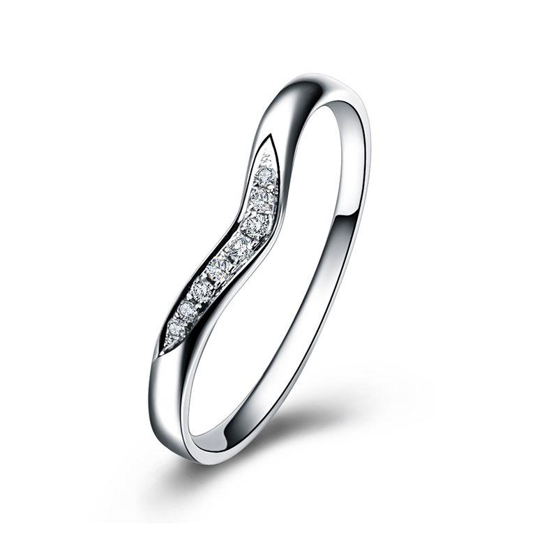 Alliance Ondulée Élysée - En Or Blanc et Diamants Sertis   Gemperles