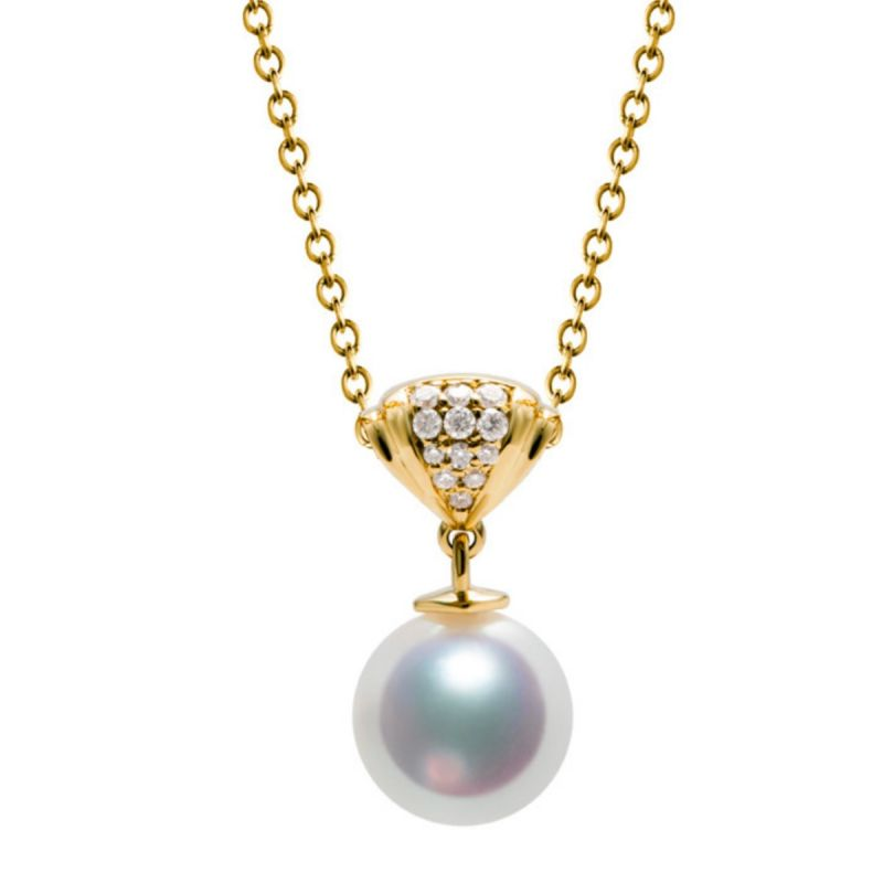 Pendentif or jaune perle culture Akoya Japon - Sarah Bernhardt