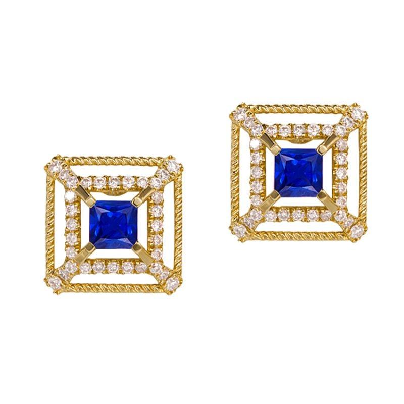 Boucle d Oreille carré de lumière - Or jaune, saphir, diamant