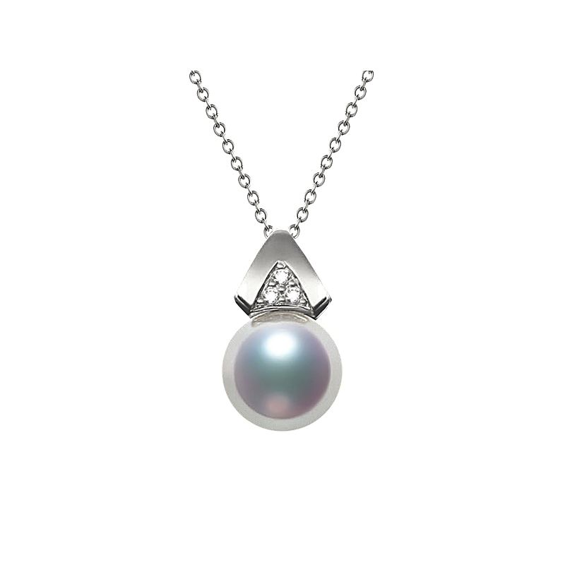 Pendentif triangulaire perle Akoya du Japon, Or blanc et diamants