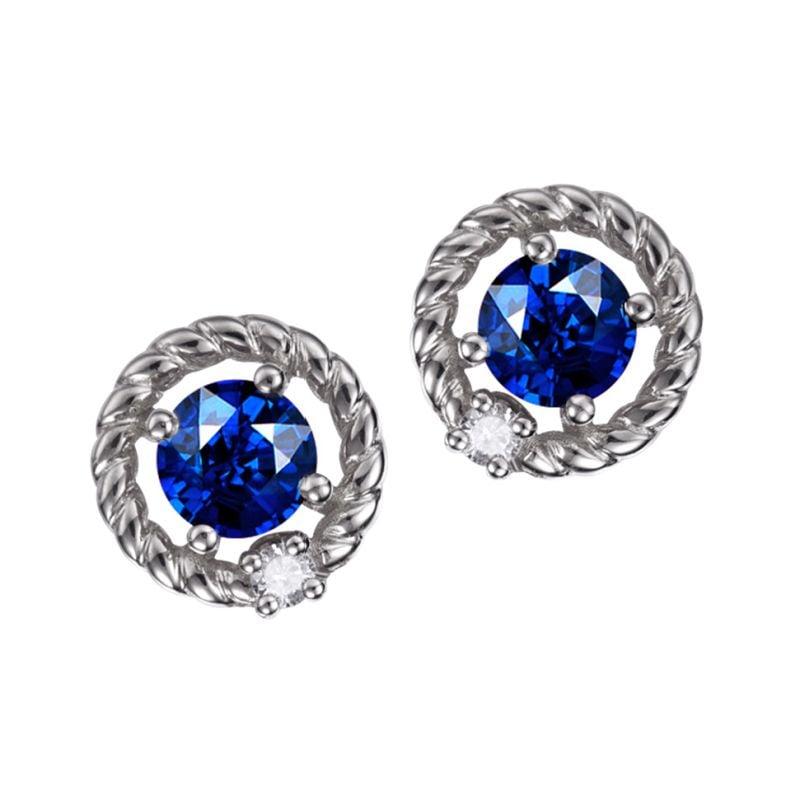 Boucle d oreille Saphir, Diamant & or blanc - Tempietto