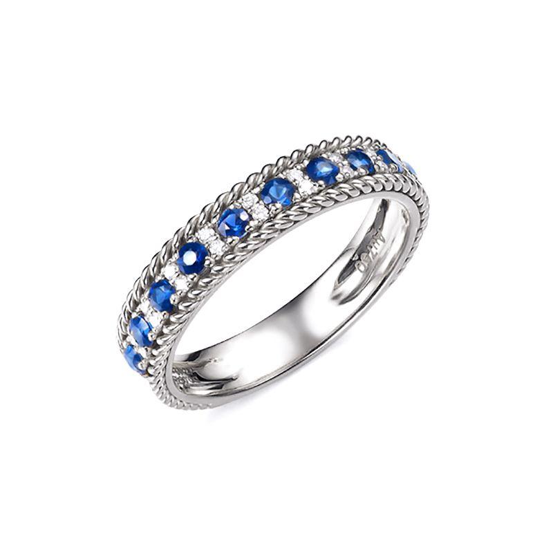 Bague saphir - Tempietto - Or blanc, diamant, saphir
